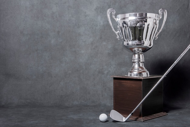 Troféu de golfe com espaço para texto