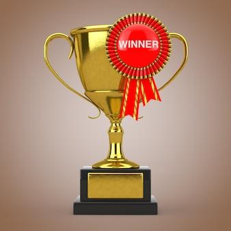 Troféu de ouro com roseta de fita de prêmio vermelho e sinal de vencedor em um fundo marrom. renderização 3d