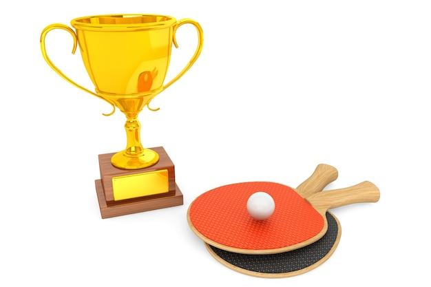 Troféu de ouro e raquetes de tênis em fundo branco
