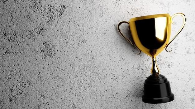 Troféu de ouro sobre fundo de concreto. renderização 3d.