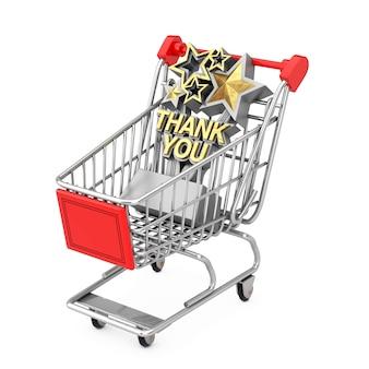 Troféu de prêmio com sinal de agradecimento dourado no carrinho de compras em um fundo branco. renderização 3d