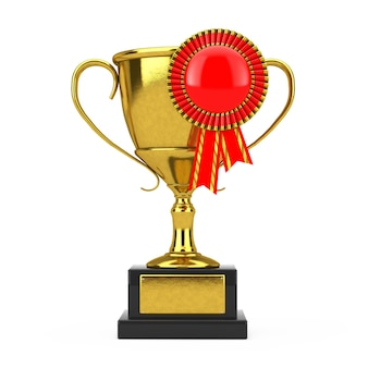 Troféu de prêmio de ouro com roseta de fita de prêmio em branco vermelho sobre um fundo branco. renderização 3d