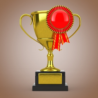 Troféu de prêmio de ouro com roseta de fita de prêmio em branco vermelho sobre um fundo marrom. renderização 3d