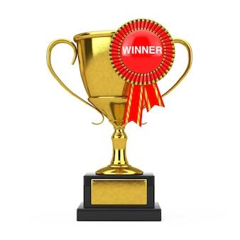 Troféu de prêmio de ouro com roseta de fita de prêmio vermelho e sinal de vencedor em um fundo branco. renderização 3d