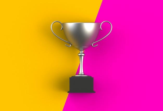 Troféu em amarelo com prancha rosa, renderização em 3d