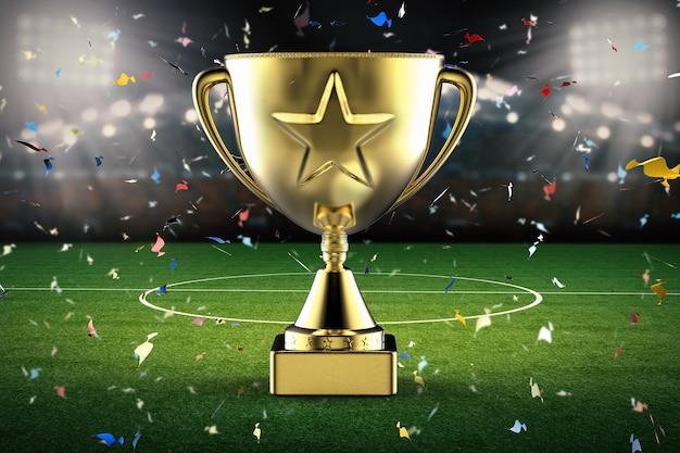 Troféu estrela de ouro de renderização 3d com estádio de futebol e fundo de confete