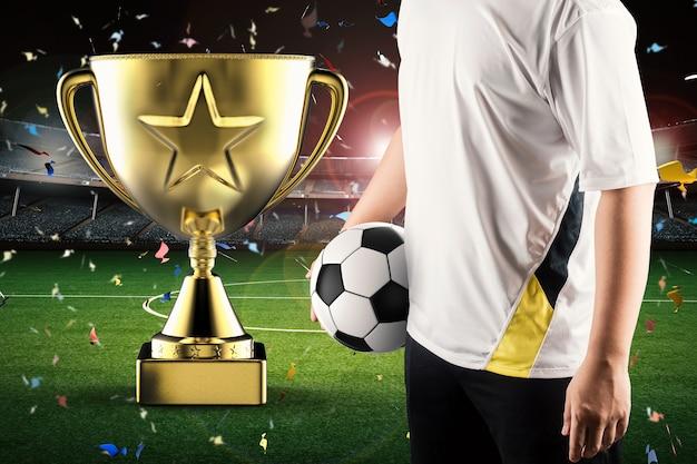 Troféu estrela de ouro de renderização 3d com jogador de futebol
