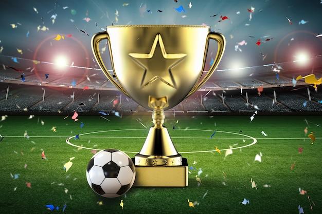 Troféu estrela de ouro de renderização 3d e bola de futebol com estádio de futebol e fundo de confete