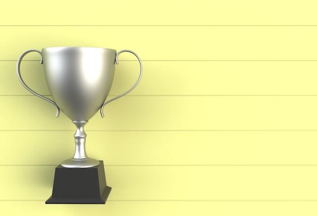 Troféu na placa de madeira amarela