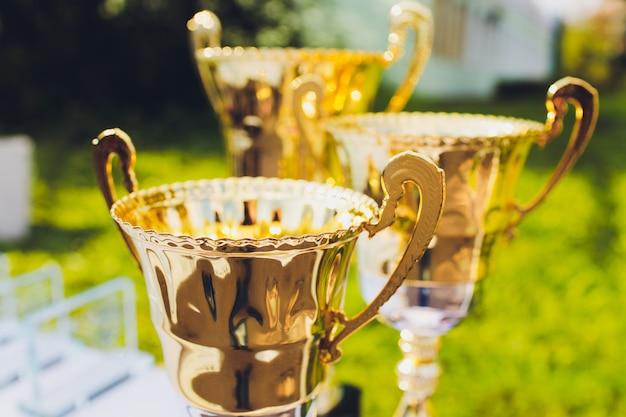 Troféus para liderança de campeões no torneio, sucesso de cerimônia para prêmios de vitória