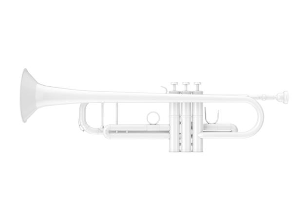 Trombeta branca no estilo clay em um fundo branco. renderização 3d