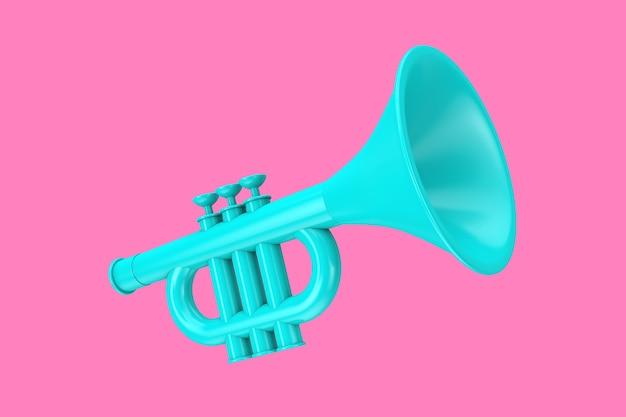 Trombeta da criança de brinquedo azul no estilo duotônico em um fundo rosa. renderização 3d