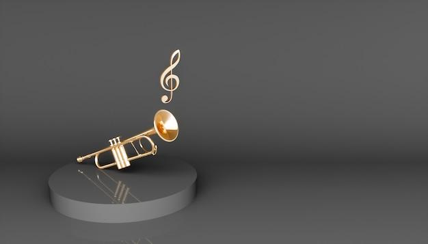 Trombeta dourada em um fundo preto, ilustração 3d