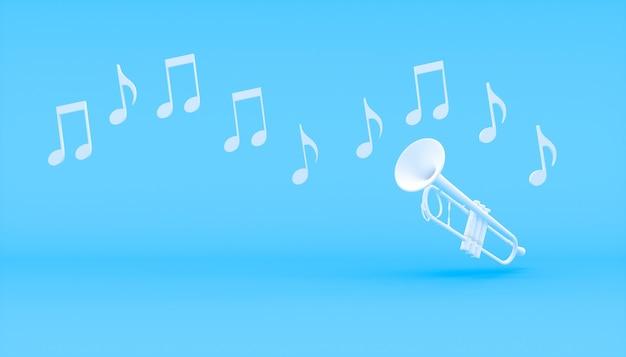 Trompete branco sobre fundo azul, ilustração 3d