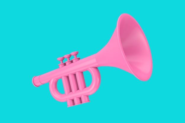 Trompete de brinquedo-de-rosa em estilo duotônico sobre um fundo azul. renderização 3d