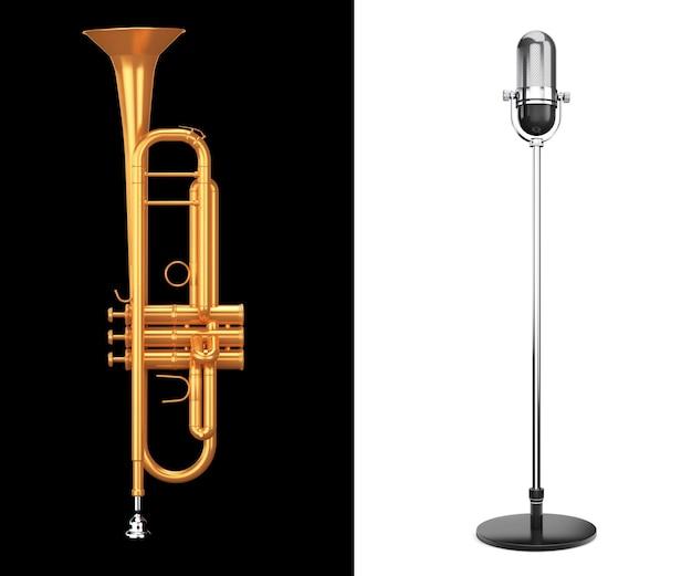Trompete de latão polido com microfone prateado vintage