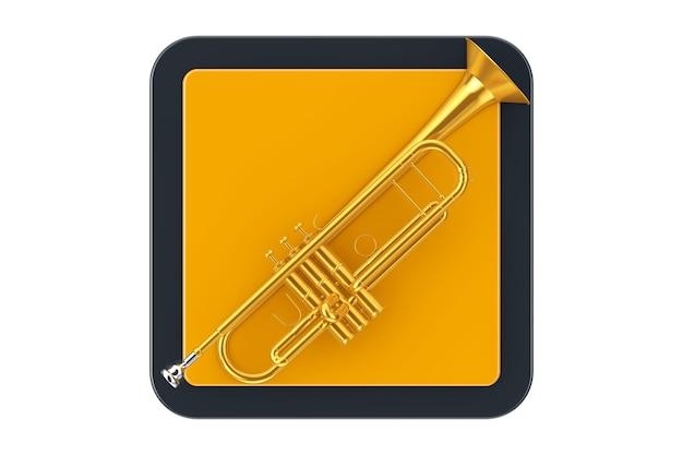 Trompete de latão polido como botão do ícone do touchpoint em um fundo branco. renderização 3d