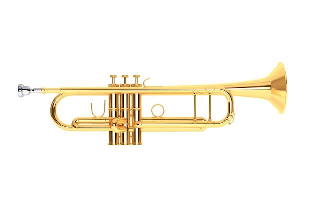 Trompete de latão polido em um fundo branco