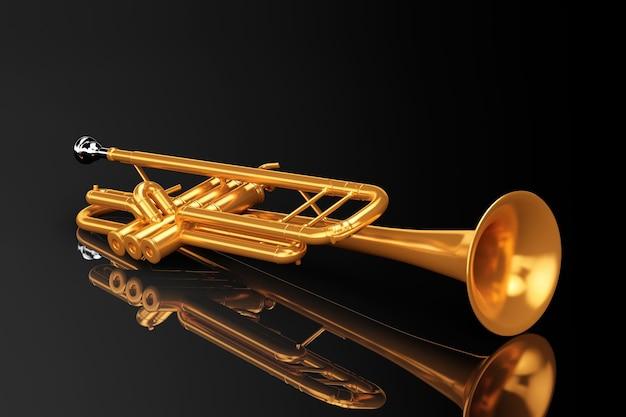 Trompete de latão polido em um fundo preto