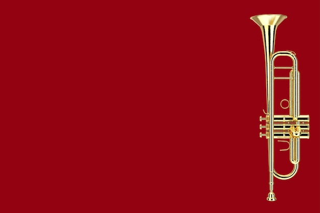 Trompete de latão polido sobre um fundo vermelho. renderização 3d