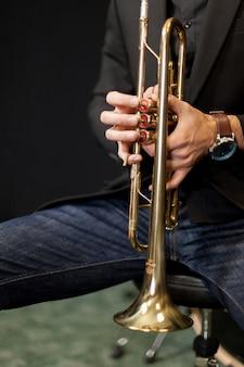 Trompetista, jogador, seu, instrumento