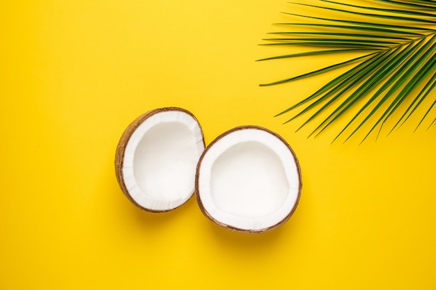 Tropical coco e palmeira em amarelo