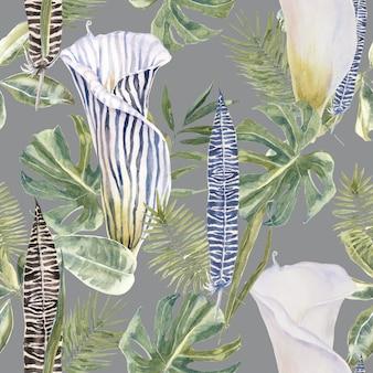 Tropical padrão sem emenda com flores exóticas e folhas de palmeira