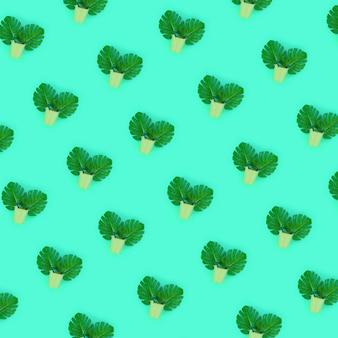 Tropical, palma, monstera, folhas, mentiras, em, um, pastel, baldes, ligado, verde
