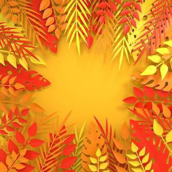 Tropical paper palm monstera deixa quadro render