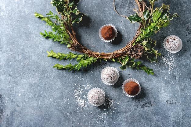 Trufas de chocolate de natal