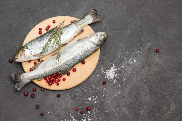 Truta de peixe cru com cranberries. raminhos de tomilho. postura plana. copie o espaço