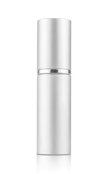 Tubo de spray prateado para maquete de design de produto cosmético