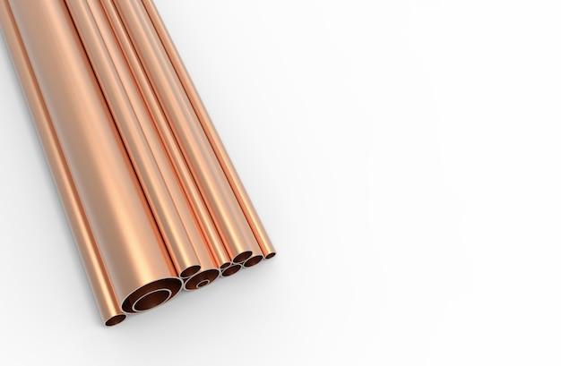 Tubos de cobre padrão de fundo. renderização 3d.
