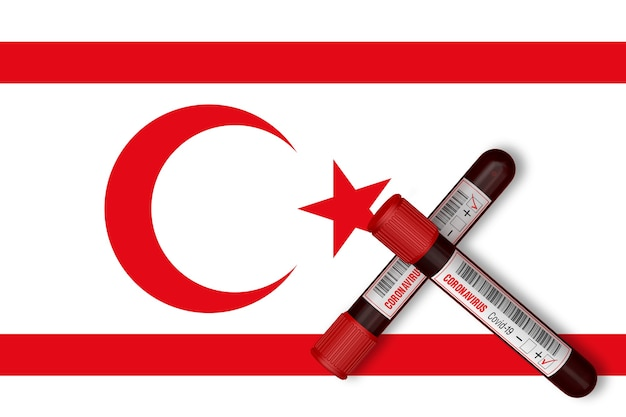 Tubos de ensaio com a inscrição 2019-ncov no fundo da bandeira da república turca do chipre do norte. renderização 3d
