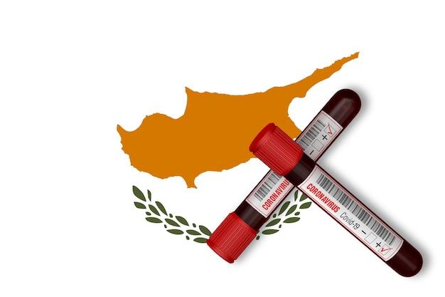 Tubos de ensaio com a inscrição 2019-ncov no fundo da bandeira de chipre. renderização 3d