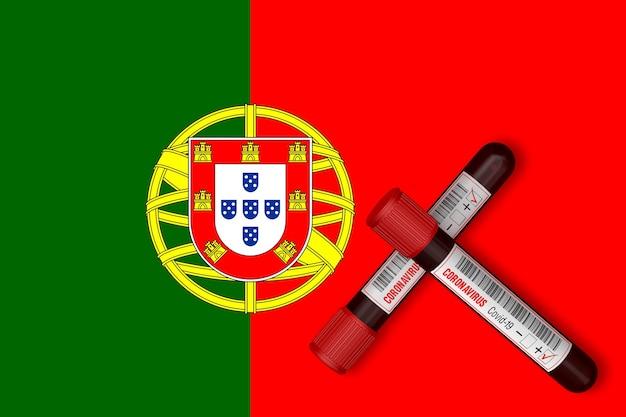 Tubos de ensaio com a inscrição 2019-ncov no fundo da bandeira de portugal. renderização 3d