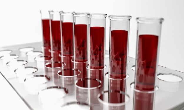Tubos de ensaio com amostras de sangue, 3d isolado render