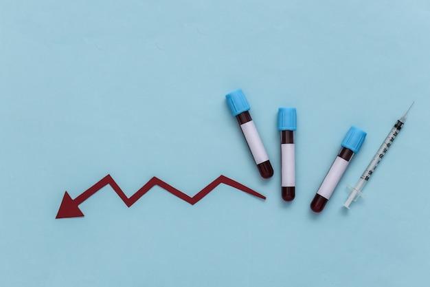 Tubos de ensaio com sangue, seringa com uma seta para baixo em um fundo azul. vista do topo