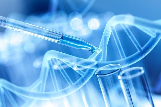 Tubos de ensaio de laboratório de ciências e pipeta