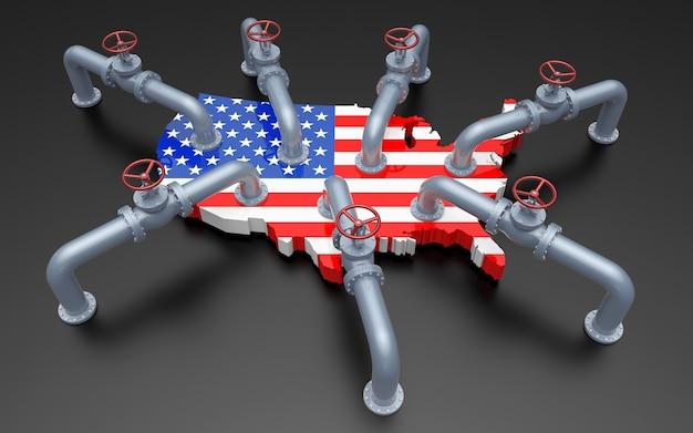 Tubos de óleo e válvulas no mapa de cores da bandeira dos estados unidos. ilustração 3d
