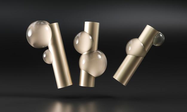Tubos de ouro e esferas de vidro gravadas.