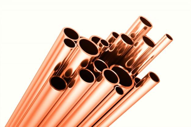 Tubos redondos de cobre, industriais. ilustração 3d