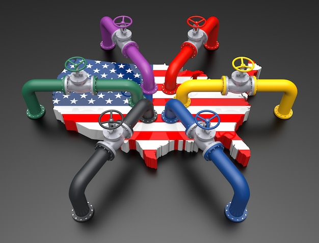 Tubulação colorida e valfe no mapa de cores da bandeira dos estados unidos. ilustração 3d