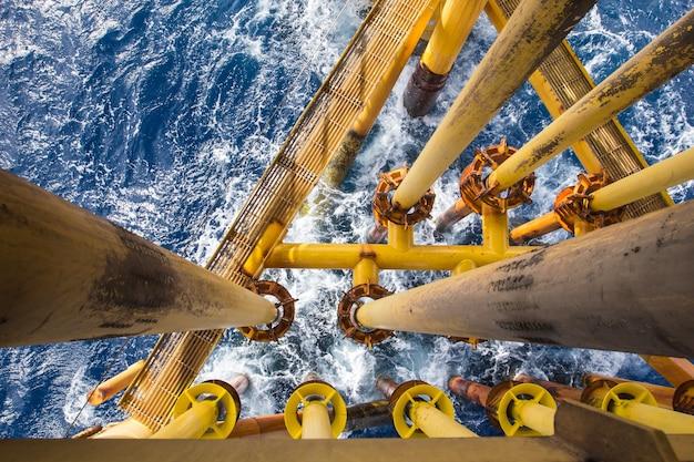Tubulação offshore de perfuração amarela e produção de gás mar de ondas de oleoduto de petróleo.