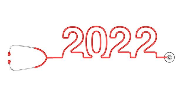 Tubulação vermelha do estetoscópio formando o novo sinal de 2022 anos em um fundo branco. renderização 3d