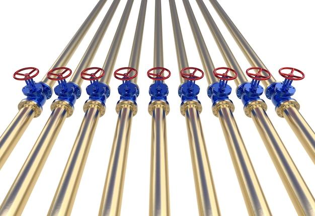Tubulações de ouro com ilustração 3d de válvula. isolado no branco