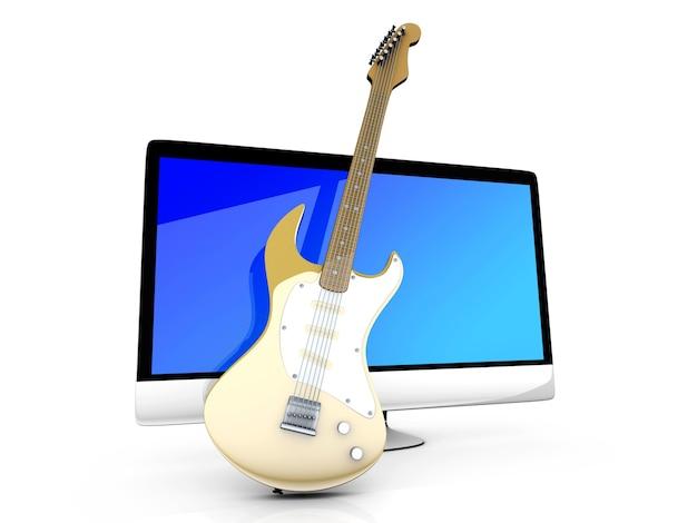 Tudo em um computador com guitarra.