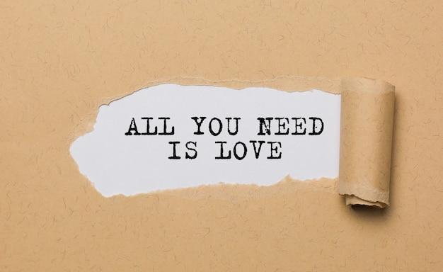 Tudo que você precisa é amor no fundo de papel rasgado, amor e conceito de dia dos namorados