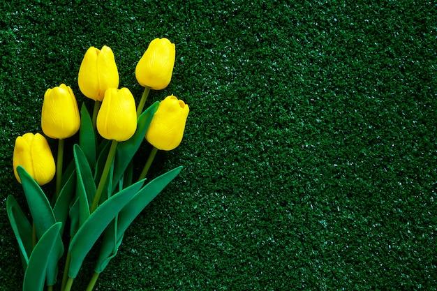 Tulipa amarela na grama verde para o conceito de decoração e amor