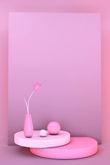 Tulipa de flores de primavera mínima 3d. elegante cena rosa abstrata na moda. maquete de cartão de convite de saudação para o dia dos namorados e dia das mulheres